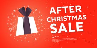 After Christmas sale banner. Big winter sale offer. Shop market poster design. Vector illustration EPS 10 Royalty Free Stock Photography