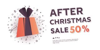 After Christmas sale banner. Big winter sale offer. Shop market poster design. Vector illustration EPS 10 Royalty Free Stock Photo