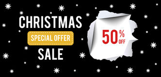 Christmas Sale banner on black background. With 50 percent discount Stock Photo