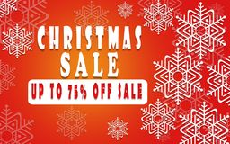 Christmas sale banner for booklet 75%, holiday flyer, poster, advertising logo, leaflet for the store template design. The modern Royalty Free Stock Images