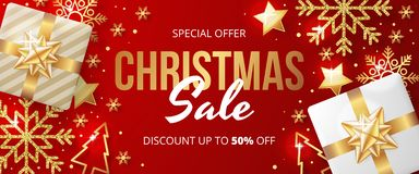 Christmas sale banner with christmas elements on red background.