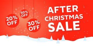 After Christmas sale banner. In Christmas snow scene. Big winter sale offer. Shop market poster design. Vector illustration EPS 10 stock illustration
