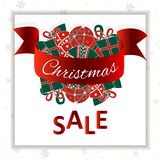 Christmas sale banner. Christmass balls on a white snowflakes background. Social media ready royalty free illustration