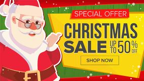 Christmas Sale Banner With Classic Santa Claus Vector. Advertising Poster. Marketing Advertising Design Illustration. Christmas Sale Banner With Santa Claus Royalty Free Stock Photo