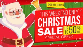 Big Christmas Sale Banner With Happy Santa Claus. Vector. Sale background. Business Advertising Illustration. Design For Royalty Free Stock Photography