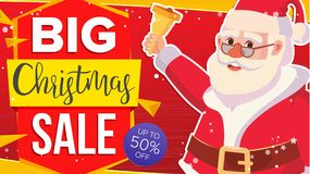 Christmas Sale Banner With Classic Xmas Santa Claus Vector. Discount Special Offer Sale Banner. Marketing Advertising Stock Photography