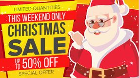 Big Christmas Sale Banner With Happy Santa Claus. Vector. Holidays Sale Announcement. Business Advertising Illustration Royalty Free Stock Photos