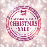 Christmas sale banner. Christmas discount. Elegant card with shiny background and vintage typographic badge. Vector sale banner Stock Photos