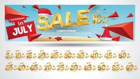 Christmas Sale Banner with discount tag 10,20,30,40,50,60,70,80,90,99 percent gold and elegant sale geometric promotion with three vector illustration