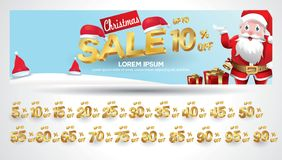 Christmas Sale Banner with discount tag 10,20,30,40,50,60,70,80,90,99 percent. Christmas Sale Banner with discount tag percent stylized luxury vector illustration