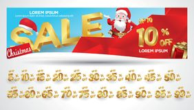 Christmas Sale Banner with discount tag 10,20,30,40,50,60,70,80,90,99 percent. Christmas Sale Banner with discount tag percent royalty free illustration