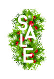 Christmas sale banner with fir and holly decorations. Christmas sale banner with fir branches, holly leaves, red holly berries and glowing snowflakes. Winter Stock Image
