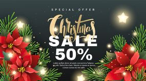 Christmas sale banner with fir tree branches. Red Poinsettia flower and golden lettering on black background for your promotion. Christmas vector banner with Royalty Free Stock Photo