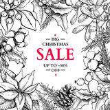 Christmas sale banner in frame.Vector hand drawn illustration wi Stock Image