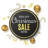 Christmas sale banner. Golden balls. Confetti and serpentine. Golden stars and lollipops. Scattered toys on the board. Special. Offer. Festive label. Vector royalty free illustration
