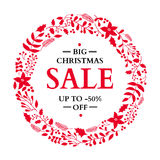 Christmas sale banner. Hand drawn vector holiday illustration wi Royalty Free Stock Photos