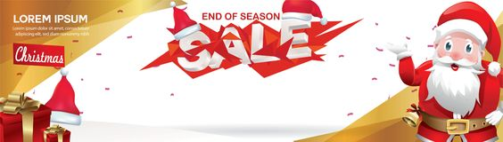 Christmas Sale banner with hat Santa Claus and geometric concept design. Vector illustration vector illustration