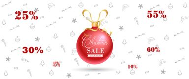 Christmas Sale Banner, Holiday Concept Background. Royalty Free Stock Images