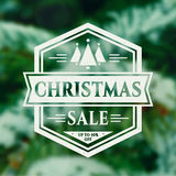 Christmas sale banner. Christmas Sale. Holiday discount banner with blurred fir-tree background and white typographic badge. Vector illustration Stock Photo