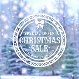 Christmas sale banner. Christmas Sale. Holiday discount banner with blurred winter background and white typographic badge. Vector illustration Royalty Free Stock Images