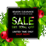 Christmas sale banner with holly leaves decorations Stock Image