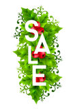 Christmas sale banner with holly leaves decorations Royalty Free Stock Photo