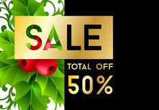 Christmas sale banner with holly leaves decorations Royalty Free Stock Photography