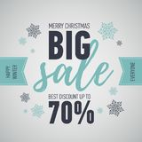 Christmas sale banner.Big sale 50.Holiday discount. Christmas sale banner. Illustration with Santa girl character. Winter seasonal banner. Big sale 50. Holiday Royalty Free Stock Images