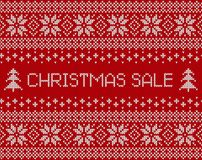 Christmas sale banner with knitted scandinavian background. Royalty Free Stock Image