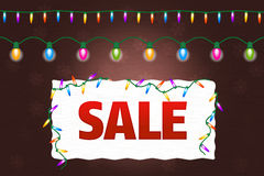 Christmas sale banner with lights Royalty Free Stock Images