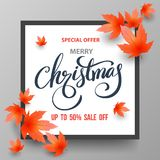 Christmas Sale banner with maples. Stock Photo