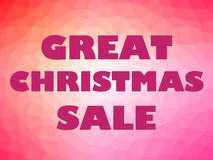 Christmas sale banner pink letters on colorful background. Great Christmas sale banner with big pink letters on colorful background Stock Image