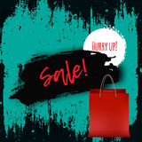 Christmas Sale Banner for Promotion with shopping bags on green Background. Realistic Vector Illustration Stock Image