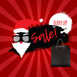 Christmas Sale Banner for Promotion with shopping bags and santa in glasses on red Background. Vector Illustration Royalty Free Stock Photo