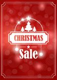 Christmas sale banner on red background. Christmas sale banner on a red background framed with glowing circles, Christmas tree, creative design Stock Illustration