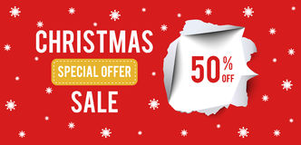 Christmas Sale banner on red background with 50 percent discount. Stock Photos