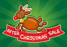After Christmas Sale banner / Reindeer Royalty Free Stock Image