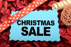 Christmas Sale banner with Ribbon and Decoration. Season special for new year royalty free stock photos