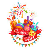 Christmas sale banner with ribbon and firework. Vector illustration Stock Photography