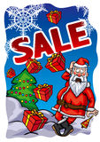 Christmas Sale banner with Santa Claus Stock Image