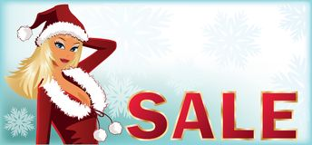 Christmas sale banner with Santa-girl.  Royalty Free Stock Photos