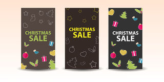 Christmas sale banner. Set of christmas banners with decoration Royalty Free Stock Photos
