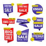 Christmas Sale Banner Set Vector. Discount Tag, Special Xmas Offer Banners. December Good Deal Promotion. Winter. Christmas Sale Banner Set Vector. December Sale Royalty Free Stock Photos