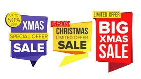 Christmas Sale Banner Set Vector. December Sale Banner. Website Stickers, Holidays Web Design. Up To 50 Percent Off Xmas. Christmas Sale Banner Set Vector. Sale Royalty Free Stock Photo