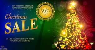 Christmas sale banner, sparkling lights bokeh with Christmas fir and golden stars. Christmas posters, cards, headers website. Holiday Discount design template stock illustration