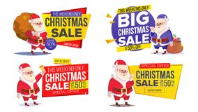 Christmas Sale Banner Template With Classic Santa Claus Vector Stock Photo