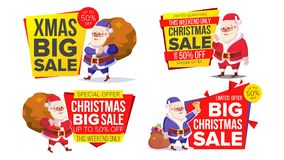 Christmas Sale Banner Template With Santa Claus Vector. Design For Xmas Party Poster, Brochure, Card, Shop Discount Royalty Free Stock Photography