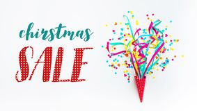 Christmas sale banner template design with colorful confetti streamer. Celebration and festive concepts ideas royalty free stock photography