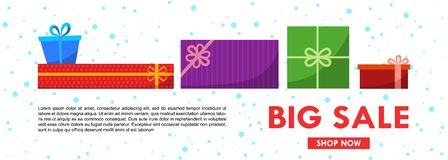 Christmas sale banner template with gift boxes. Vector flat illustration stock illustration