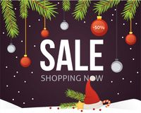 Christmas sale banner template with glitter balls ribbons. And decoration. New year tree branches background Royalty Free Stock Photos